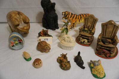 Sixteen Piece Ceramic and Wood Animal Décor