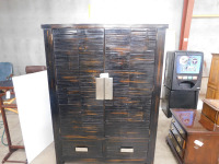 Wood Entertainment Center 5'11 by 4'2 by 2' included folding doors and holes for cord organization in the back.