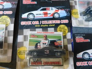 stock car collectors card with die-cast car, 17 cards and cars