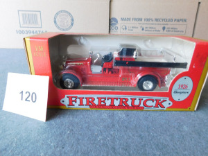 1:30 scale die-cast 1926 firetruck locking coin bank with key