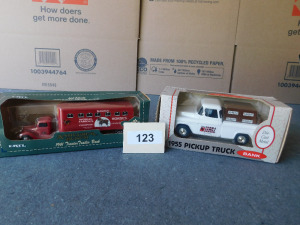 1955 pickup truck bank die-cast 1:25 scale, 1941 tractor trailer bank, die cast 1:43 scale