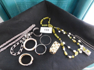10 piece costume jewelry lot necklaces and bangles