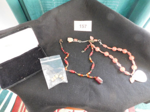 3 piece costume jewelry lot with case