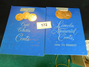 2  Lincoln Memorial Pennies books  approx 94 coins