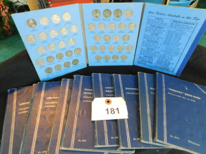 2, Lincoln Head cent collection starting in 1941, Washington Head Quarter 1932 to 1945 and 1946-59, Liberty Standing half dollar 1937-1947 9 coins,  Rooselvelt dime starting at 1946  set, Mercury Head dime partial collection,  Buffalo nickle 1919 coin col
