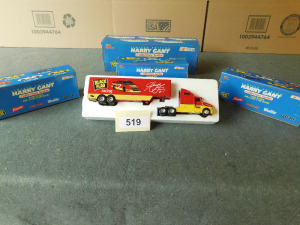 3, 1:24 scale die cast banks and 1:64 scale die cast hauler