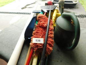 misc Brooms, mops, dust pans and watering jug, corner lot