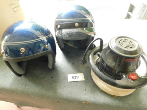 two helmets and electric buffer