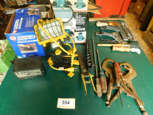 vacuum, charger, light, router, misc tools, on table only- shed