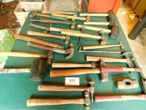 Misc Hammers, on table only -shed