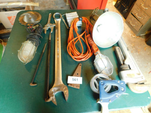 17/8 in wrench, lights, big pipe wrench, misc hand tools, table only-shed