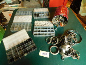 Snap rings, carter keys, plugs, hose clamps, pins, table only-shed