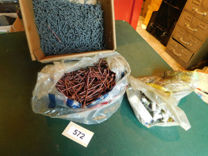 number 16 nails, 2 inch dry wall screws, misc spark plugs- table only - shed