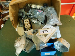 Misc electrical, clamps, boxes, receptacles,  switches- table only-shed