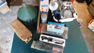 Misc automotive, funnel, oil filters, 3/8 drive air wrench, swr tester, and more on table only- shed