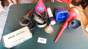 spark plug cleaner, oil filter wrenches, funnels, table only- shed