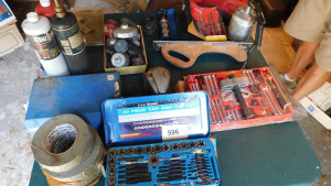 4- piece tap set, pullerset, power driver, drill bit sharpener, torch kit, sander and more, table only- shed