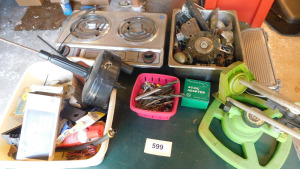 misc drill bits, lightbulbs, plumbing snake, sprinklers, electric range- shed