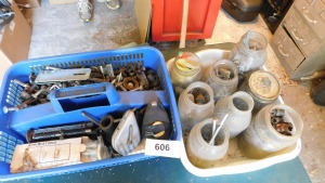 misc nuts and bolts, nails and more table only- shed
