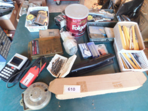 misc tape measures, 3-hole punch, carpenter pencils, assorted bits, electric meter table only -shed
