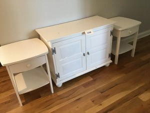 "White Wooden Chest, 16"" X 36"" X 26"", And Two End Tables, 18"" X 16"" 32"""