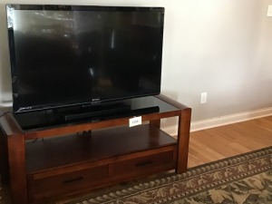 "Wood And Glass Entertainment Center, 64"" X 19"" X 22"", TV Not Included"