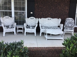 White Wicker Furniture With Cushions, Six Pieces, Some Slightly Worn