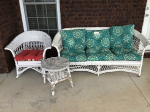 White Wicker Furniture With Cushions, Three Pieces, Table Damaged