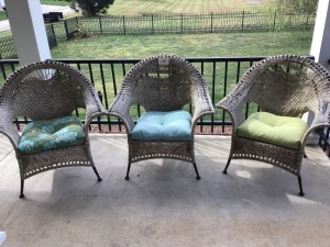 Three Wicker Chairs With Cushions