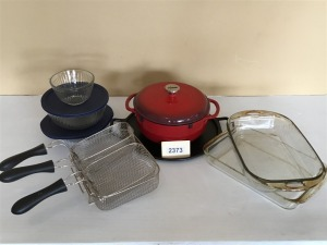 Round Iron Pizza Pan, Lodge Iron Dutch Oven, Fryer Baskets And Storage Bowls