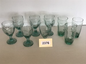 Green Glassware - 6 Goblets, 3 Tumblers