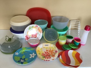 Plastic Storage And Serveware - Covered Cake Plate, Organizing Rack, Nesting Bowls, Plates, Platters, And More