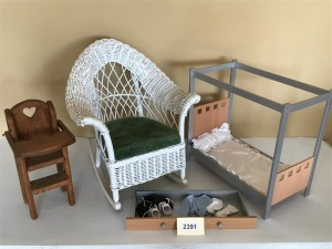 Doll Furniture And Child's Wicker Rocker