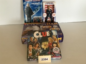 Games - Pictionary, Clue, Top Gun GWB Doll, And Hillary Doll