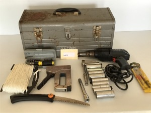 "Craftsman Tool Box, Craftsman 3/8"" Hand Drill, Socket Wrench, Small Hand Saw, Rope, Hand Driver, Staple Gun"