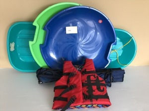Snow Sled, Snow Discs (2), Youth Life Vest, Folding Chair