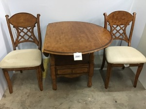"Drop Leaf Wooden Dining Table With Drawer, 44"" X 44"" X 31"", Two Wooden Chairs With Padded Seats"