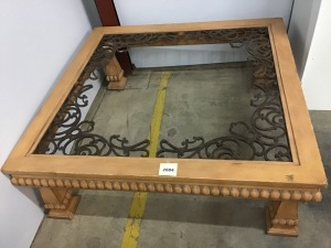 "Oversized Wooden And Metal Table, 58"" X 58"" X 20"", Without Glass Top"