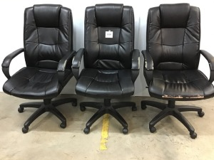 Lightly Worn Vinyl Conference Room Chairs On Rollers (3)