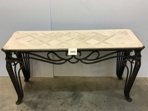 "Metal And Faux Ceramic Tile Table, 19"" X 53"" X 28""; Matches Lot # 2100"