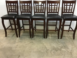 Wooden Bar Stools With Padded Seats (5)