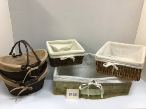 Baskets With Cloth Liners, Five Pieces