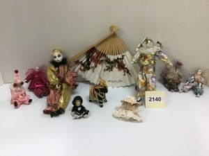 Doll Collection, Nine Pieces And Oriental Fan