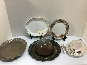 Serving Accessories - Round Silverplate Tray, Footed Silverplate Tray, Porcelain Cake Plate With Server, Silverplate Oval Covered Casserole With Glass Liner, Wooden Cheese Tray  With Dome