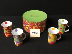 Maxwell Williams Polkadelic Set Of Four Ceramic Mugs And Container