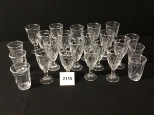 Noritake Sweet Swirl Clear Glassware - Thirteen Ice Beverages, Four Water Goblets, Six Tumblers