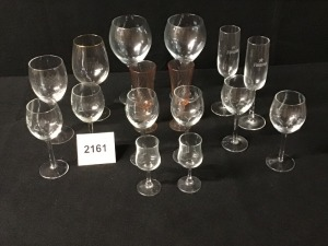 Six Etched Crystal Wine Stems, Two Cordial Stems (One Chipped), Four Tulip Champagne Stems, Four Glass Wine Stems