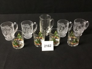 Four Poinsettia Frosted Mugs, Four Christmas Old Fashioned Tumblers, Glass Mug