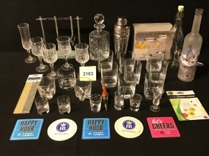 Barware - Stainless Steel Mixer, Crystal Wine Stems (4), Crystal Tulip Champagne, Set Of Eight Square Old Fashioneds, Two Silverplate Toasting Champagnes, Grey Goose Bottle Bar Light And More