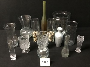 Assorted Glass Vases (14) And Ceramic Vase